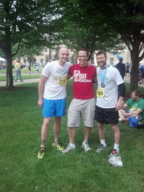 Kevin, Jeremiah, and Jonathon after the race.  Jeremiah was there providing support.